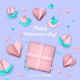 Papier elementen valentijnsdag achtergrond