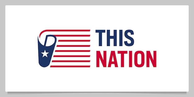 Papier en amerikaanse vlag nationaal logo-ontwerp
