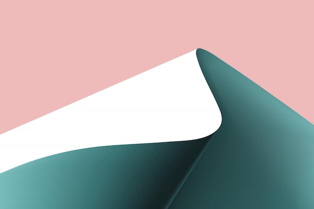 Papier gebogen in een bergachtige achtergrond.