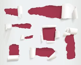 Papier gescheurde gatenillustratie van realistische haveloze of gescheurde witte paginazijden of banners