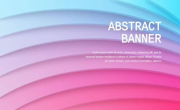 Papier gesneden achtergrond abstracte realistische papierdecoratie voor ontwerpgradiënt van roze naar blauw