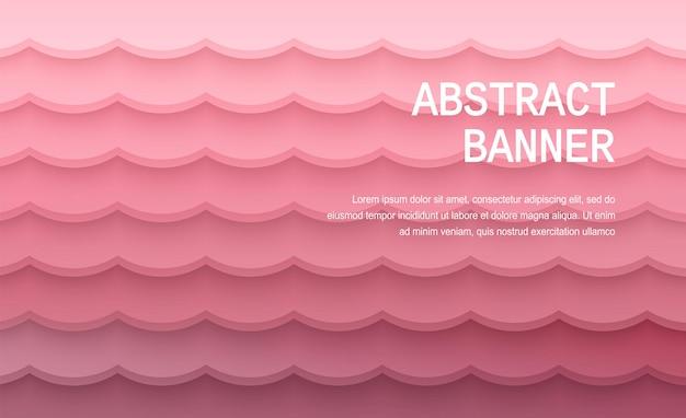 Papier gesneden achtergrond abstracte realistische papierdecoratie voor ontwerpgradiënt van roze naar rode lagen