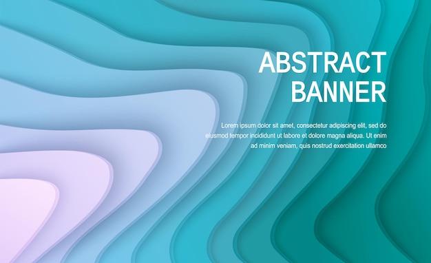 Papier gesneden achtergrond abstracte realistische papieren decoratie voor ontwerp golvende gradiënt van groen naar paars