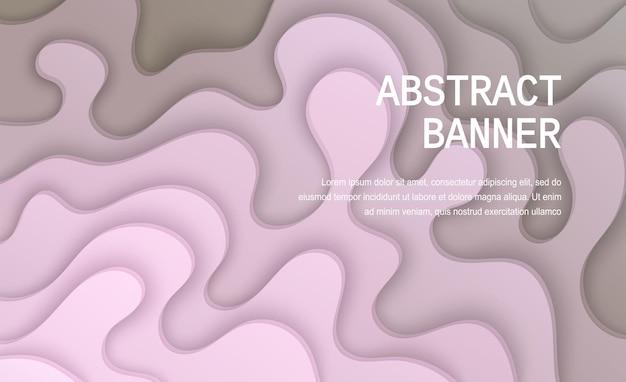 Papier gesneden achtergrond abstracte realistische papieren decoratie voor ontwerp golvende gradiënt van roze naar grijs