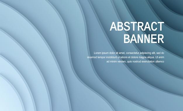Papier gesneden achtergrond abstracte realistische papieren decoratie voor ontwerp golvende gradiënt van wit en blauw