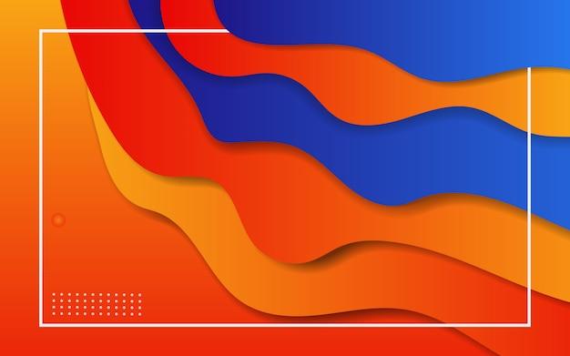 Papier gesneden achtergrond met overlappende lagen, oranje en blauw behang,