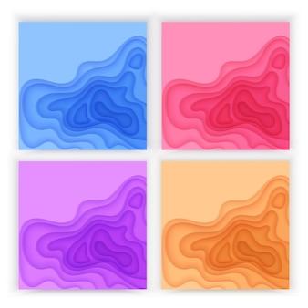 Papier gesneden achtergrond set met 3d slijm abstracte achtergrond van blauw paarse kleurrijke golven lagen