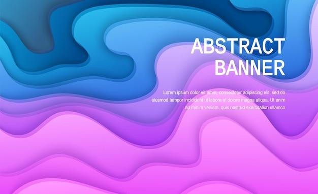 Papier gesneden achtergrond van paarse en blauwe kleur abstracte zachtroze papieren poster getextureerde golvende lagen