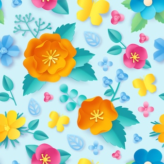 Papier gesneden bloemenpatroon. lente oranje papaver, wilde bloemen, bladeren en vlinder. weide bloesem 3d origami. bloemen vector naadloos behang. prachtige kleurrijke planten met heldere bloemblaadjes