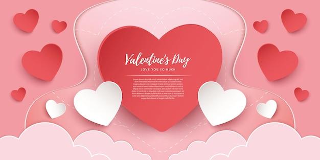 Papier gesneden concept. ontwerp van de banner van de gelukkige valentijnsdag.