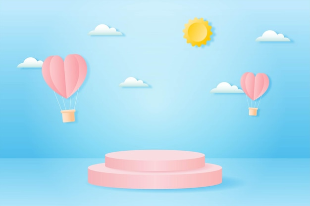 Papier gesneden happy valentijnsdag concept. landschap met wolk, hartvorm hete lucht ballonnen vliegen en meetkundevorm podium op blauwe hemel achtergrond papier kunststijl.
