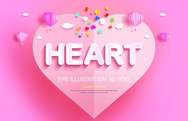 Papier gesneden hart achtergrond sjabloon met hete lucht ballonnen