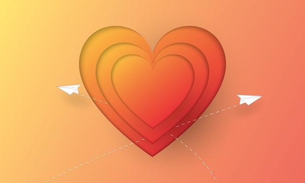 Papier gesneden harten vorm met papieren vliegtuigje, valentijnsdag