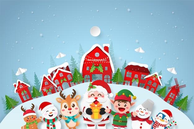 Papier gesneden illustratie van de kerstman en vriend in het dorp