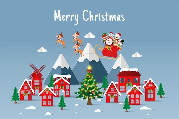 Papier gesneden illustratie van de kerstman en vriend op een slee in het dorp