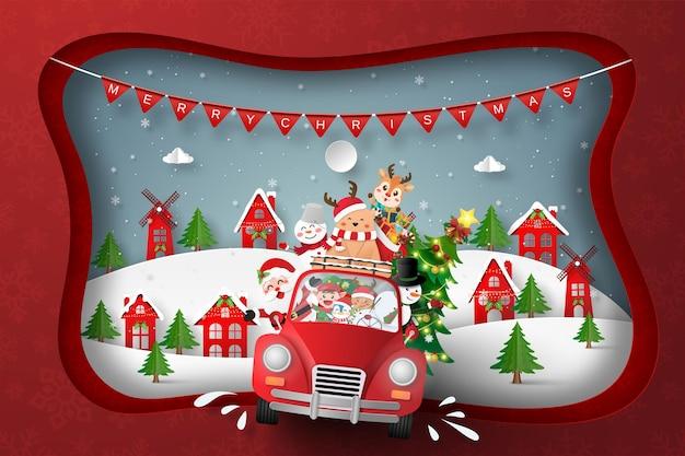 Papier gesneden illustratie van de kerstman met kerstauto in het dorp