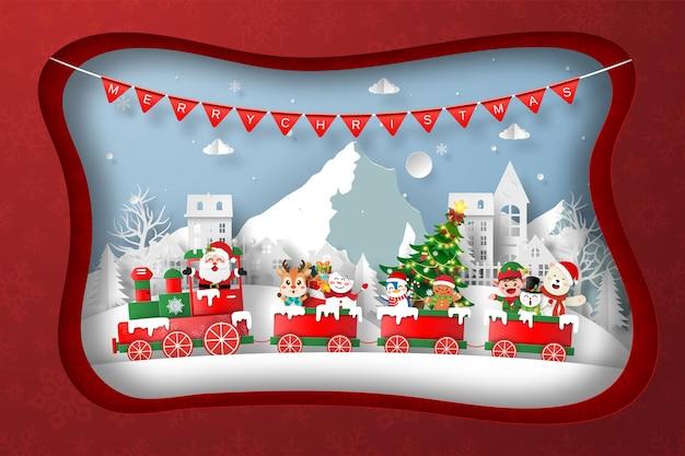 Papier gesneden illustratie van kersttratin in het dorp op eerste kerstdag