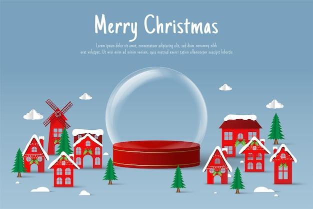 Papier gesneden illustratie van lege kerstbal in het dorp