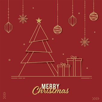 Papier gesneden kerstboom met geschenkdozen, hangende sneeuwvlokken, kerstballen en sterren versierd op rode achtergrond voor merry christmas celebration.