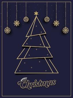 Papier gesneden kerstboom met ster, hangende kerstballen en sneeuwvlokken versierd op paarse achtergrond voor vrolijk kerstfeest.