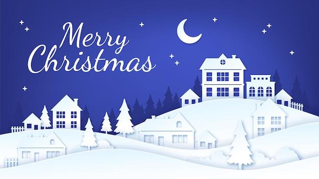 Papier gesneden kerststad. winter dorp nacht landschap met huizen, sneeuw en kerstboom. vrolijke vakantie stad ambachtelijke silhouet vector scène. craft wintervakantie, viering silhouet dorp