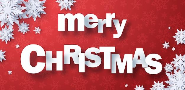 Papier gesneden merry christmas met sneeuwvlok