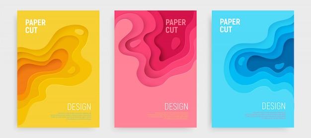 Papier gesneden omslag set met blauwe, roze, gele golven lagen