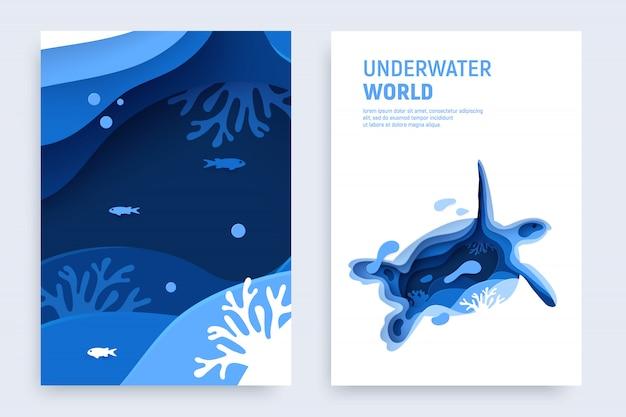 Papier gesneden onderwater cover met schildpadsilhouet, vissen, golven en koraalriffen.