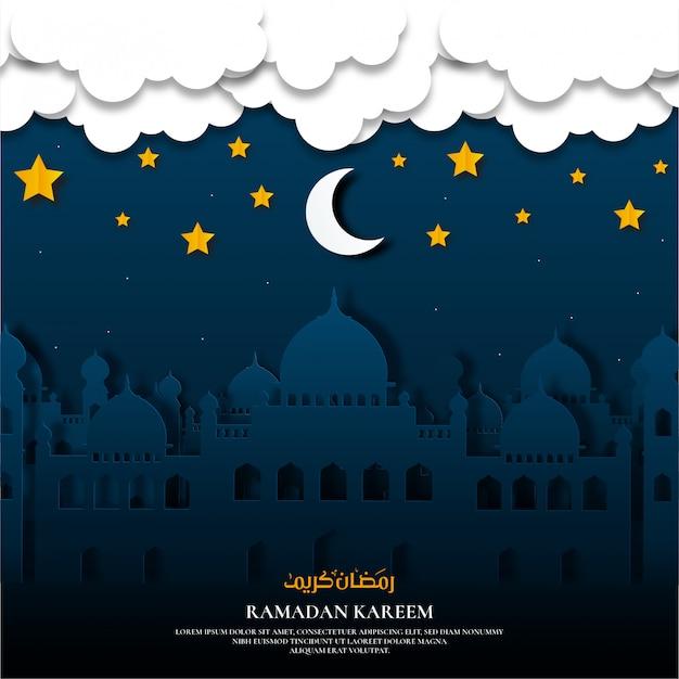 Papier gesneden ramadan kareem met moskee
