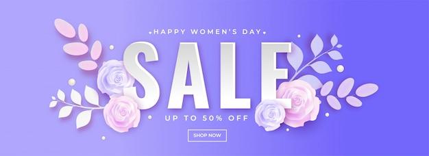 Papier gesneden roze bloemen ingericht verkoop header of banner ontwerp wi
