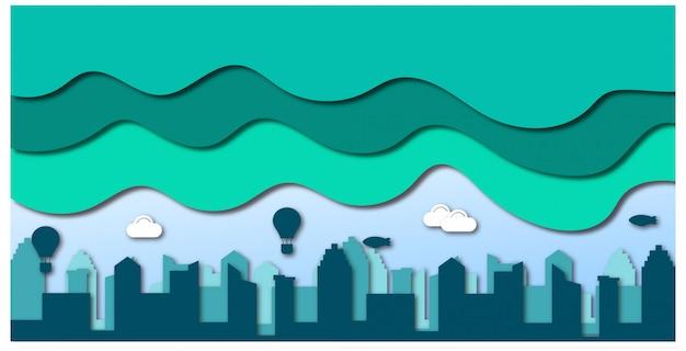 Papier gesneden stad achtergrond