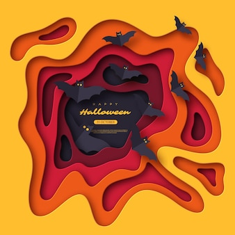 Papier gesneden stijl abstracte vormen met vliegende vleermuizen. halloween vakantie achtergrond. 3d gelaagd effect. vector illustratie.