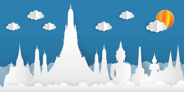 Papier gesneden stijl achtergrond met bezienswaardigheden van thailand