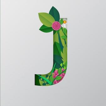 Papier gesneden stijl j alfabet met mooie bloemmotief