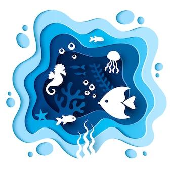 Papier gesneden stijl onderwater zee