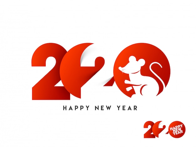 Papier gesneden tekst van 2020 met rat sterrenbeeld in rode en witte kleur voor happy new year celebration.