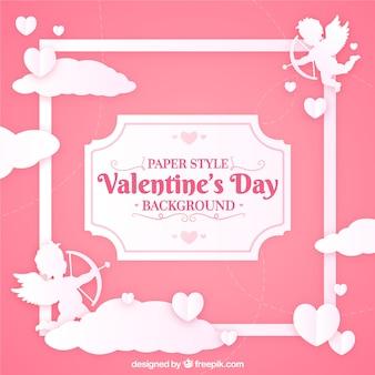 Papier gesneden valentijnsdag achtergrond