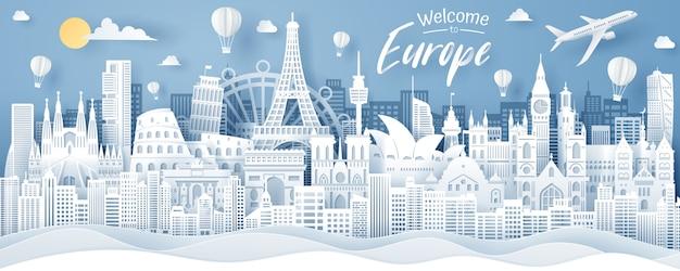 Papier gesneden van erope landmark, frankrijk, spanje, italië, australië, swenden en engeland. erope reizen en toerisme concept.