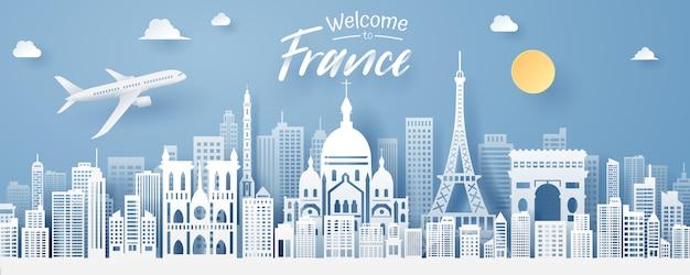 Papier gesneden van frankrijk landmark