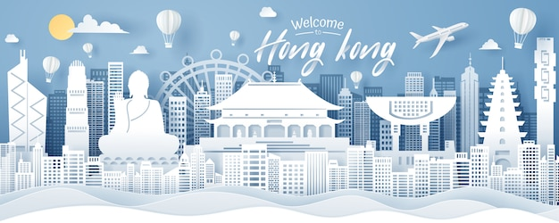 Papier gesneden van hong kong landmark, reizen en toerisme concept.