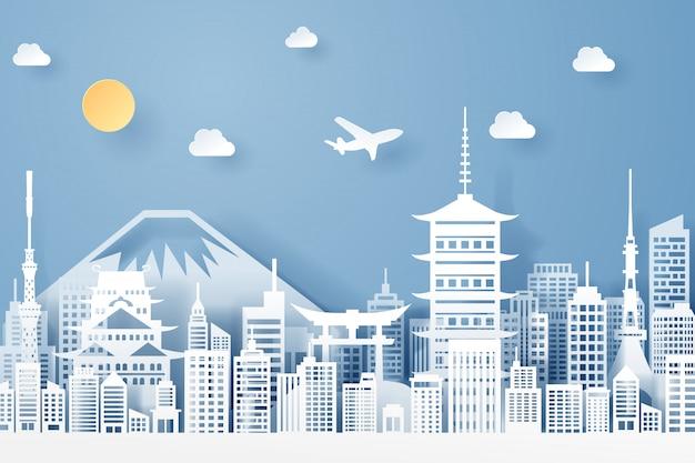Papier gesneden van japan landmark, reizen en toerisme concept