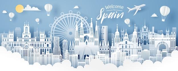 Papier gesneden van spanje landmark, reizen en toerisme concept.