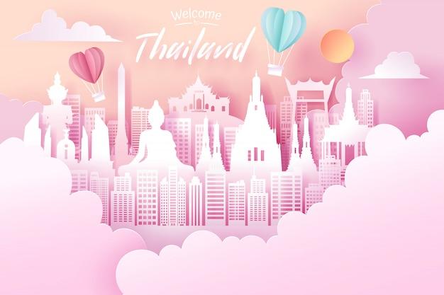 Papier gesneden van thailand landmark
