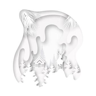 Papier gesneden van witte kleine cottage en herten in het wild op wintertijd landschap en vrolijk kerst achtergrond.