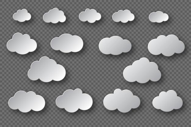 Papier gesneden witte wolken collectie. 3d-effect met schaduw. decoratieve elementen geïsoleerd