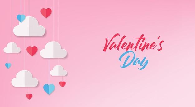 Papier hart en wolk, papier, feestkaart, gelukkige valentijnsdag, liefdeskaart, roze achtergrond, gelukkige verjaardag viering achtergrond