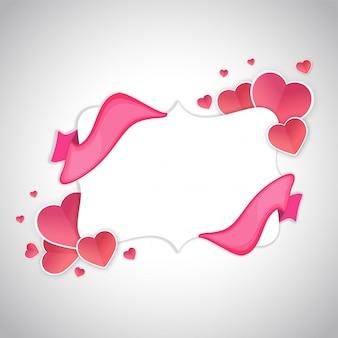 Papier harten en linten met ruimte voor uw tekst, liefde of happy valentines day concept.