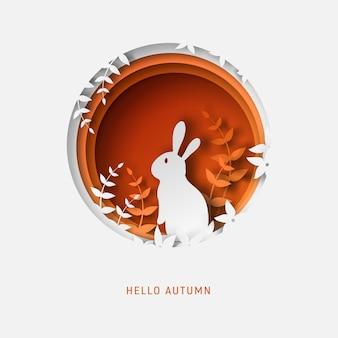 Papier herfst achtergrond met konijn