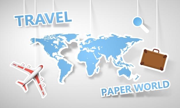 Papier kleurrijke wereldkaart toerisme illustratie.