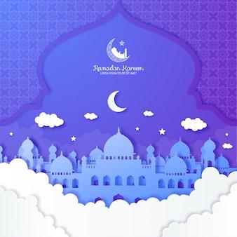 Papier knippen ramadan kareem achtergrond illustratie met moskee